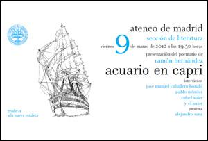 Presentación del poemario 'Acuario en Capri' de Ramón Hernández